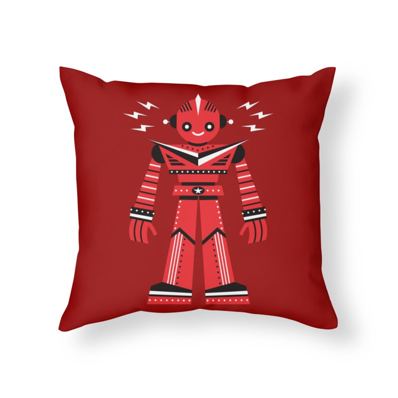 Red Robot Home Throw Pillow by Ramon Olivera Illustration Shop