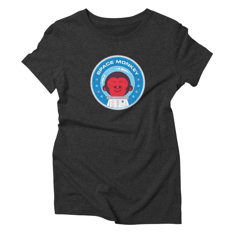 Space Monkey Women's Triblend T-Shirt by Ramon Olivera Illustration Shop