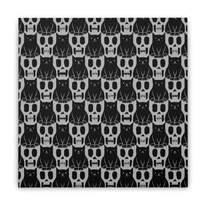 Skulls & Cats Home Stretched Canvas by ramos's Artist Shop