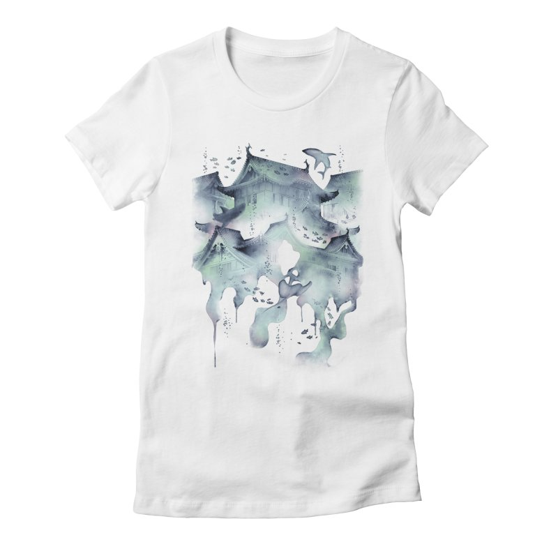 Underwater Temple Women's Fitted T-Shirt by ramos's Artist Shop