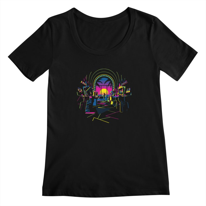 Play All Night Women's Scoopneck by ramos's Artist Shop