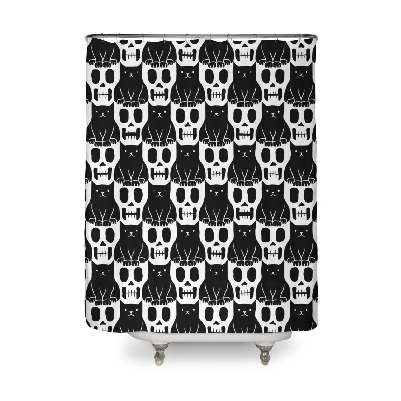 Skulls & Cats Home Shower Curtain by ramos's Artist Shop