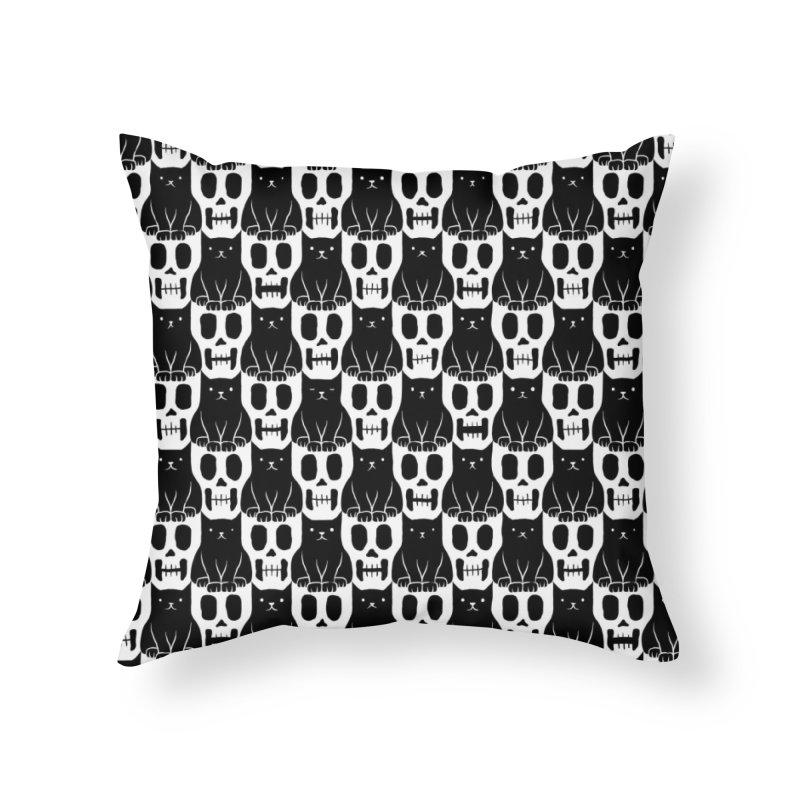 Skulls & Cats Home Throw Pillow by ramos's Artist Shop