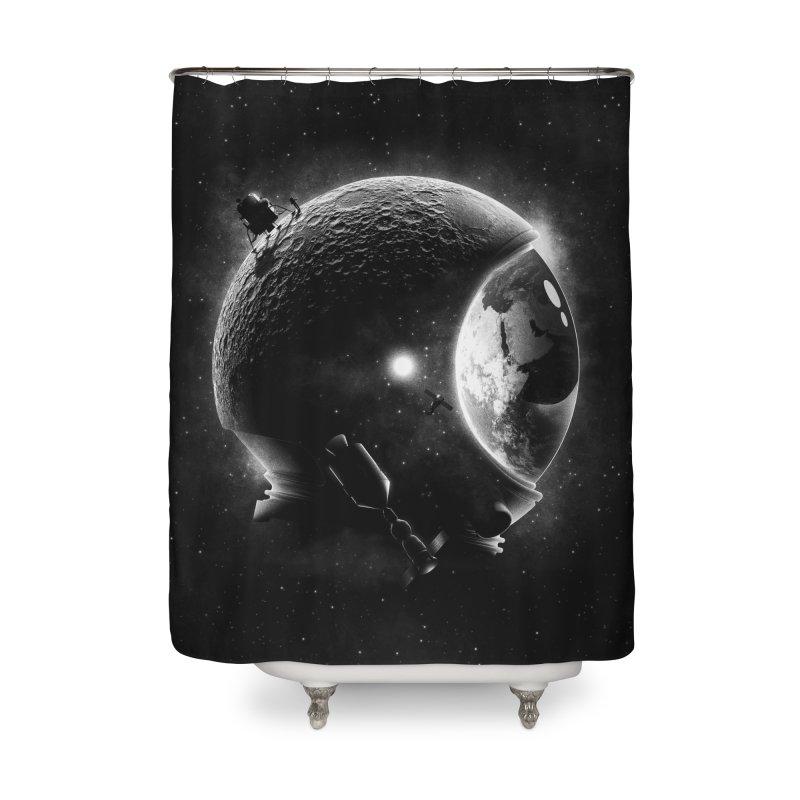 Moon's Helmet Home Shower Curtain by ramos's Artist Shop