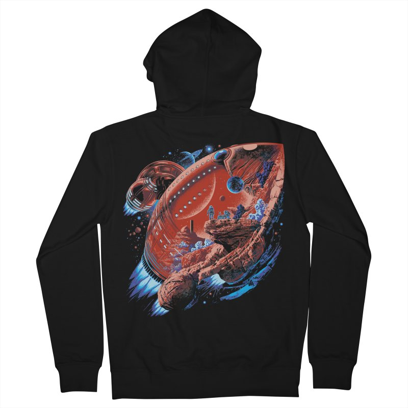 Rocket Planet Men's French Terry Zip-Up Hoody by ramos's Artist Shop