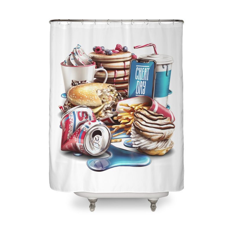 Cheat Day Home Shower Curtain by ramos's Artist Shop