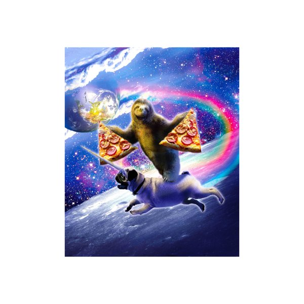 Design for Space Pizza Sloth On Pug Unicorn