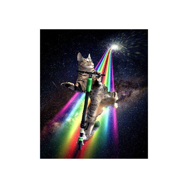 Design for Galaxy Space Cat On Scooter Rainbow