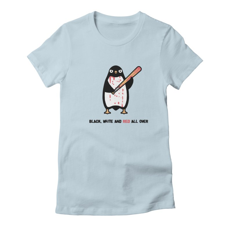Black white red Women's Fitted T-Shirt by Randyotter