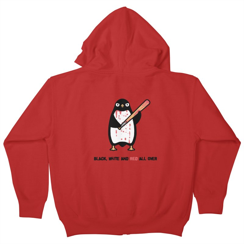 Black white red Kids Zip-Up Hoody by Randyotter