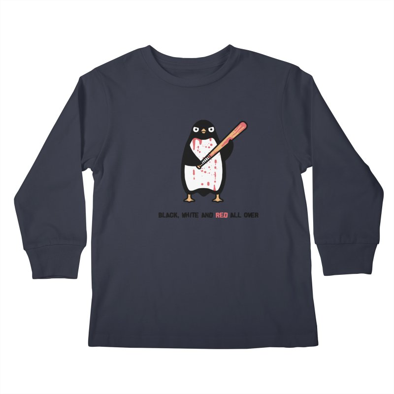 Black white red Kids Longsleeve T-Shirt by Randyotter