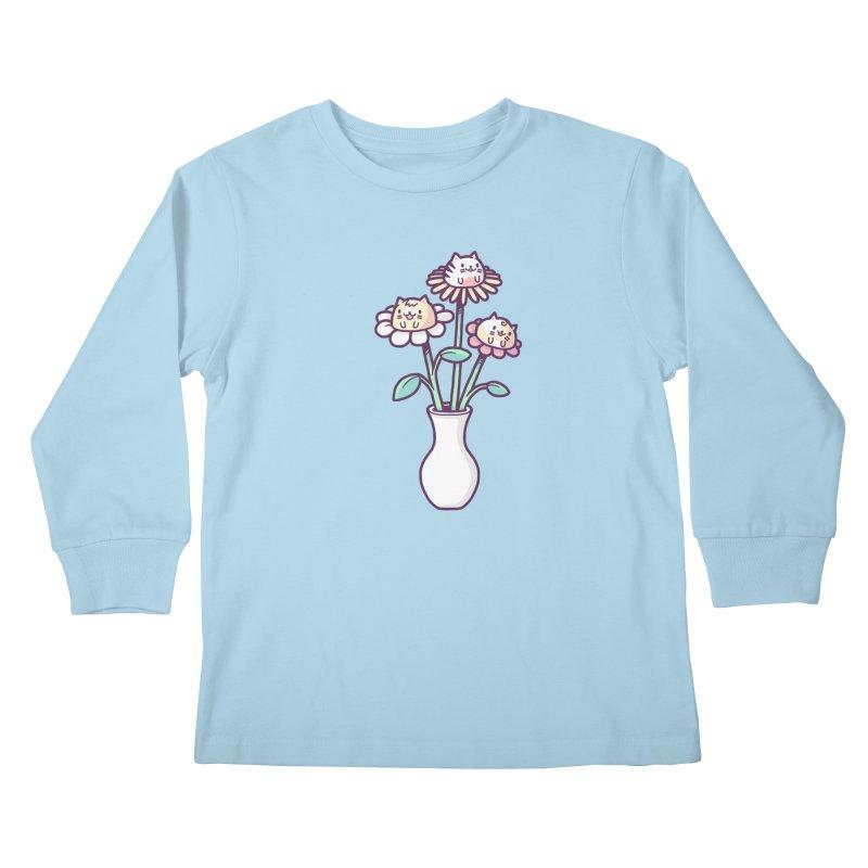 Flower felines Kids Longsleeve T-Shirt by Randyotter