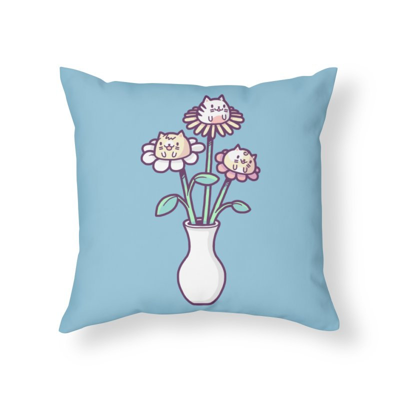 Flower felines Home Throw Pillow by Randyotter