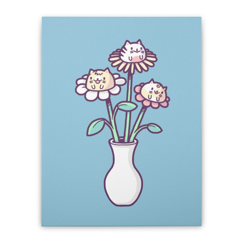 Flower felines Home Stretched Canvas by Randyotter