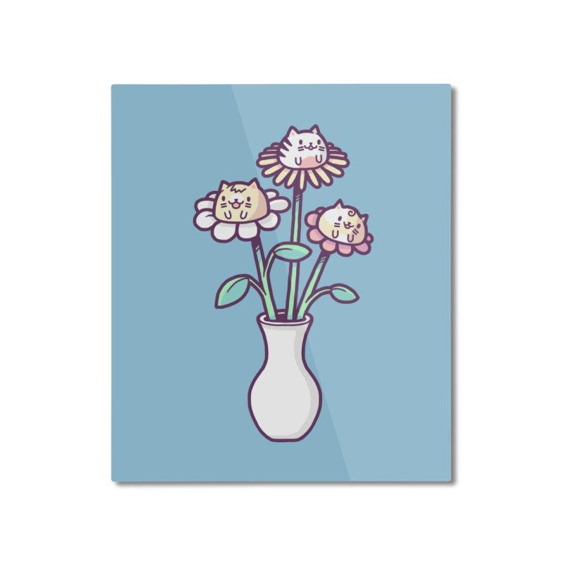Flower felines Home Mounted Aluminum Print by Randyotter