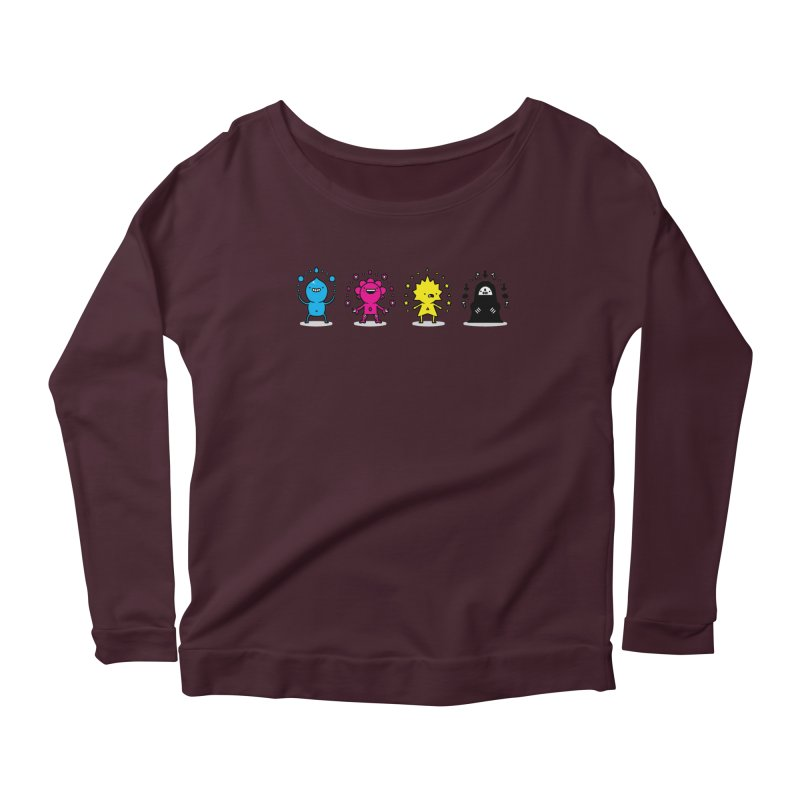 CMYK Women's Scoop Neck Longsleeve T-Shirt by Randyotter