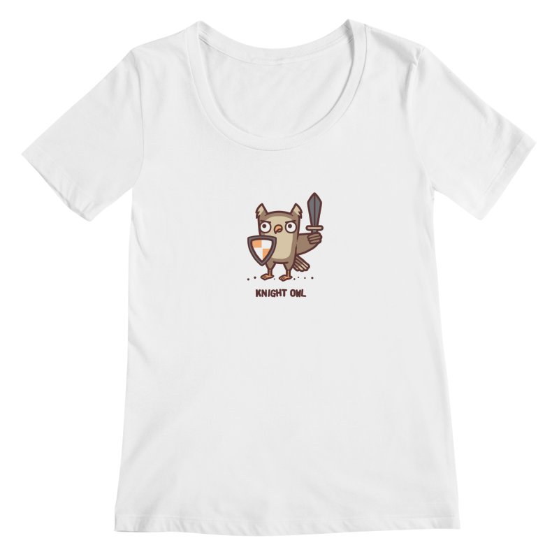 Knight owl Women's Regular Scoop Neck by Randyotter
