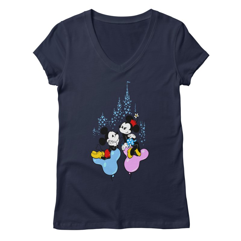 Mouse Balloons Women's V-Neck by Randy van der Vlag's Shop