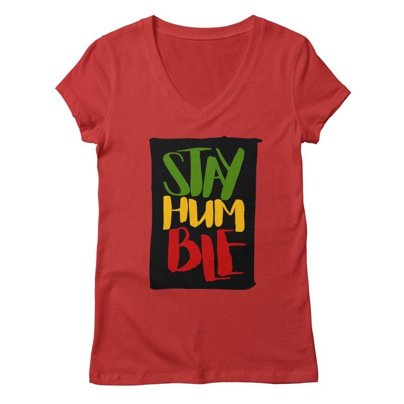 Stay Humble Women's Regular V-Neck by Rasta University Shop