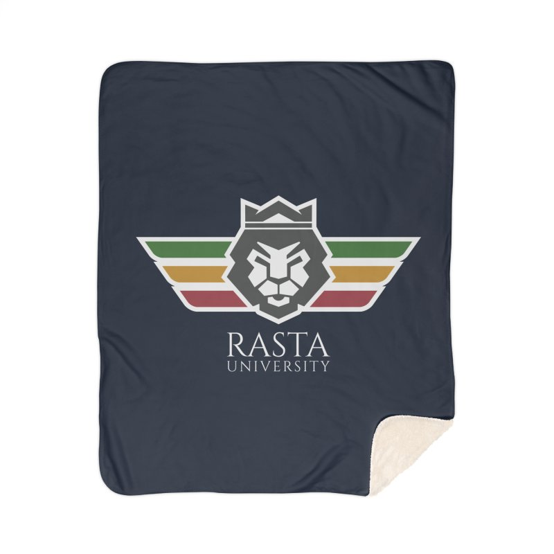 Lion Rasta University Logo (Light) Home Sherpa Blanket Blanket by Rasta University Shop
