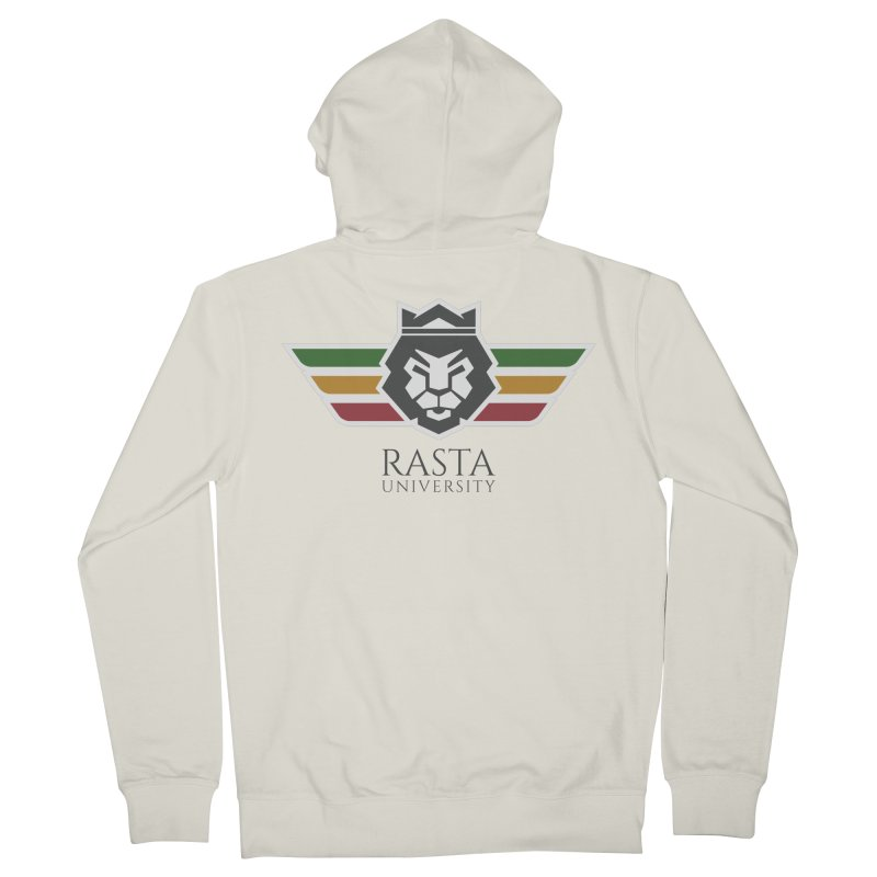 Lion Rasta University Logo (Dark) Men's French Terry Zip-Up Hoody by Rasta University Shop