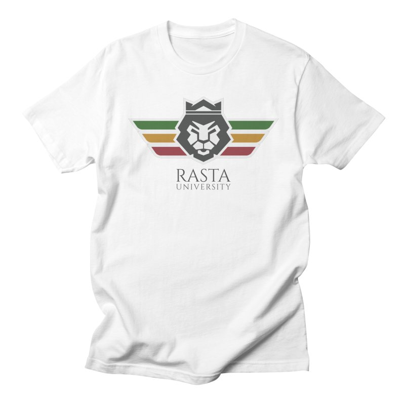 Lion Rasta University Logo (Dark) in Men's T-shirt White by Rasta University Shop