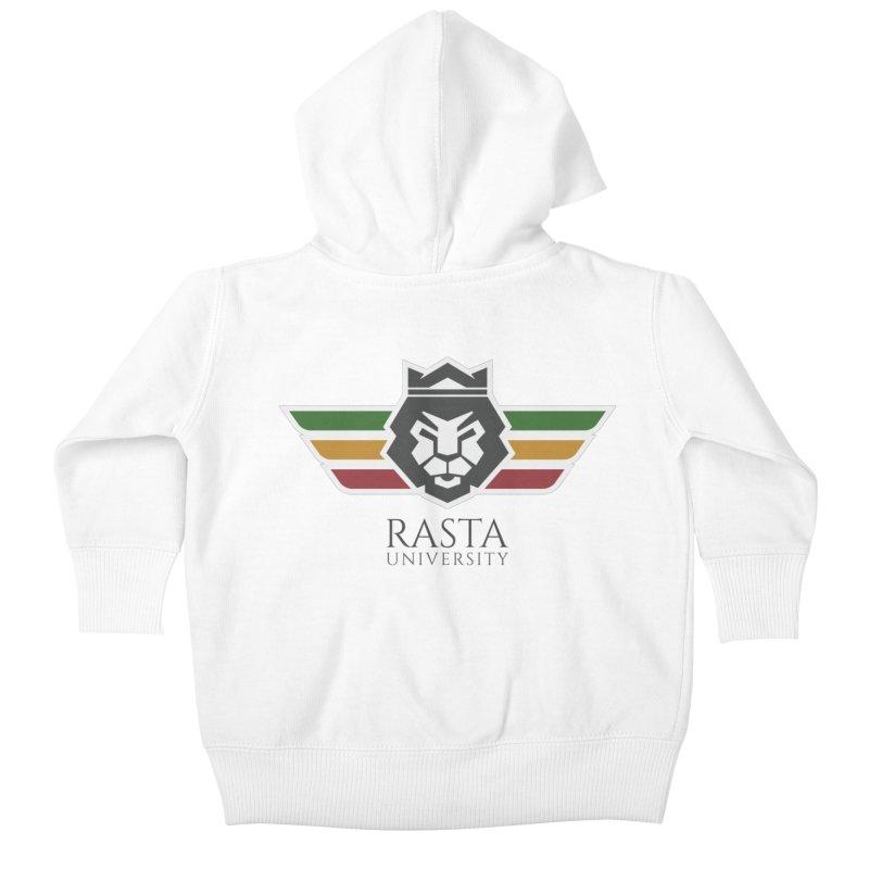 Lion Rasta University Logo (Dark) Kids Baby Zip-Up Hoody by Rasta University Shop