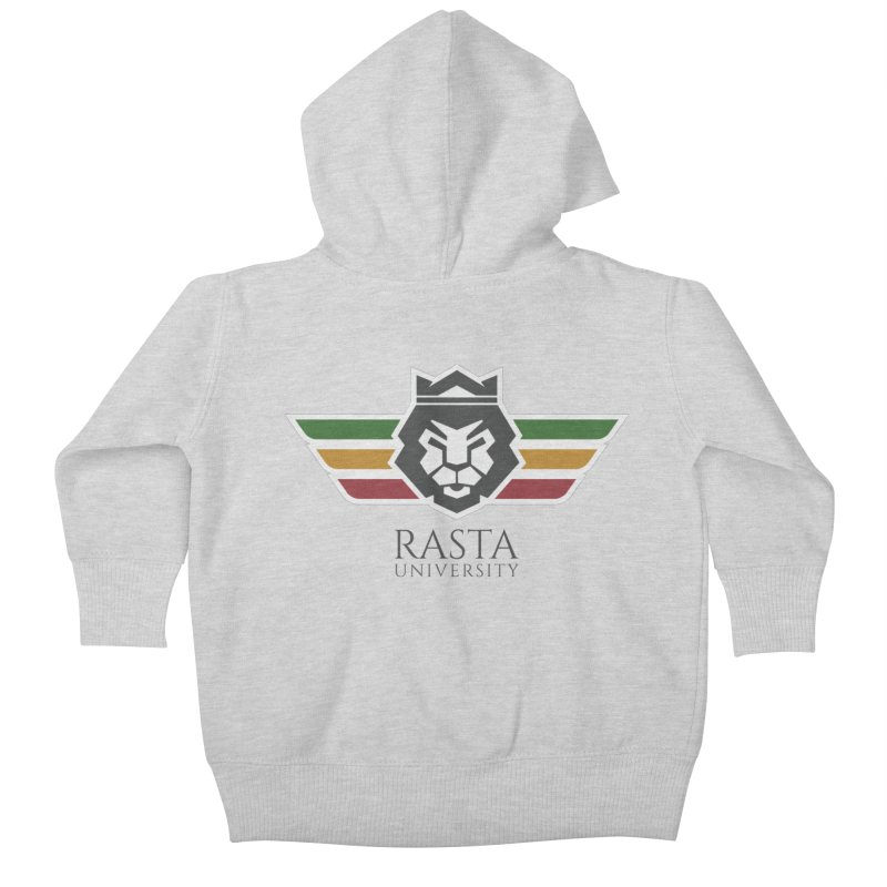 Lion Rasta University Logo (Dark) Kids Baby Zip-Up Hoody by Rasta University Shop