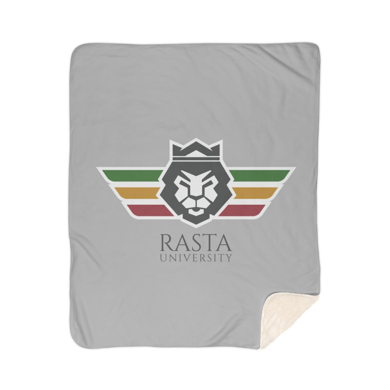 Lion Rasta University Logo (Dark) Home Sherpa Blanket Blanket by Rasta University Shop