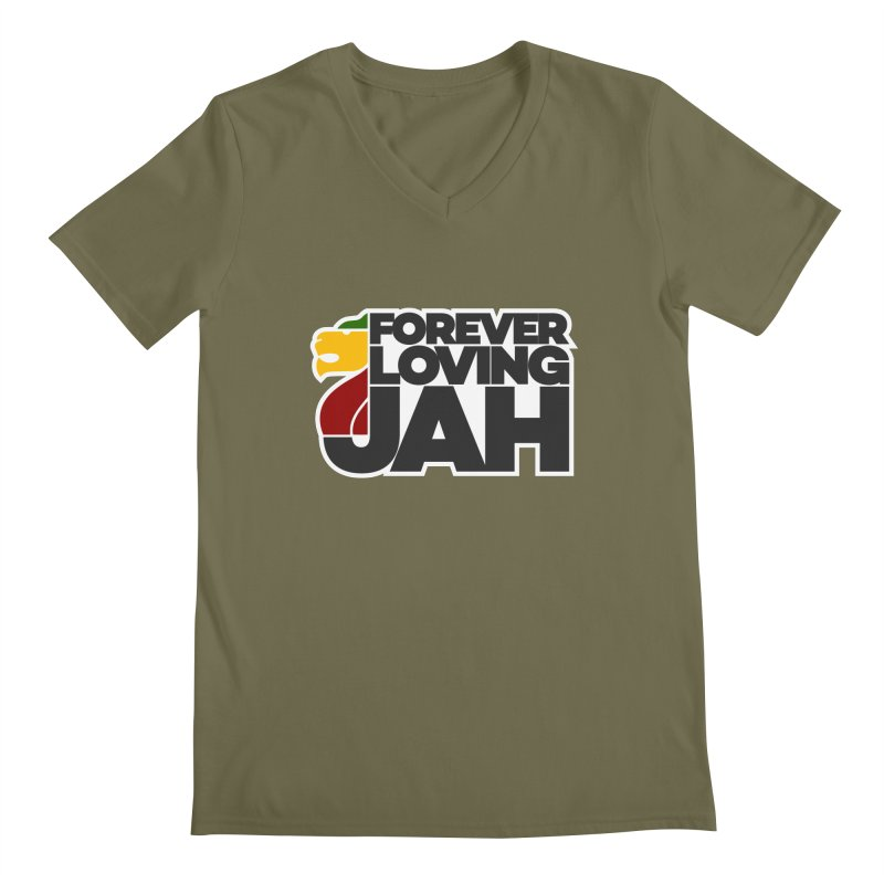 Forever Loving Jah Men's Regular V-Neck by Rasta University Shop