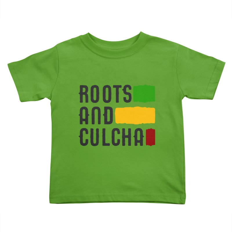 Roots and Culcha (Dark) Kids Toddler T-Shirt by Rasta University Shop