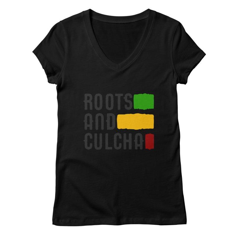 Roots and Culcha (Dark) Women's Regular V-Neck by Rasta University Shop