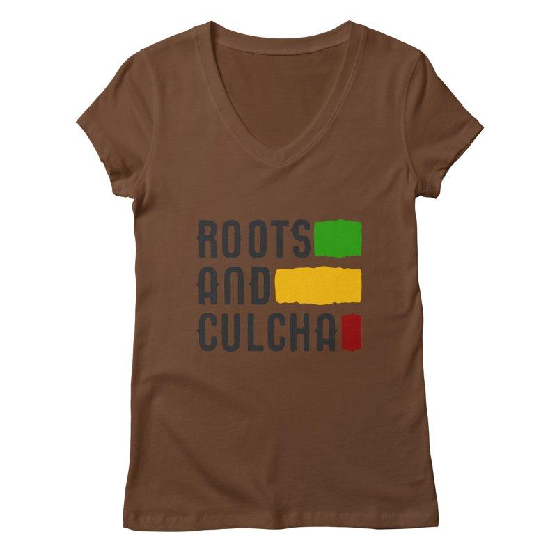 Roots and Culcha (Dark) Women's V-Neck by Rasta University Shop