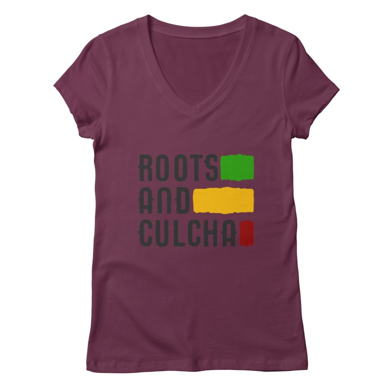 Roots and Culcha (Dark) Women's V-Neck by Rasta University Shop