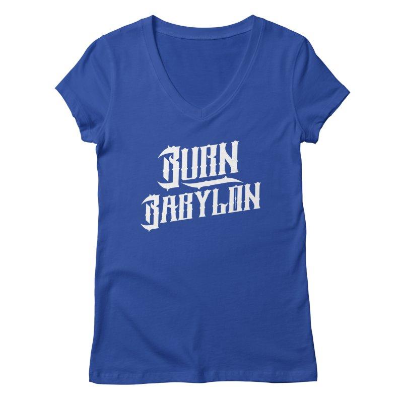 Burn Babylon (Light) Women's V-Neck by Rasta University Shop