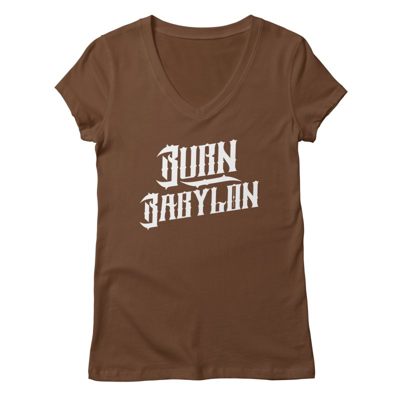 Burn Babylon (Light) Women's V-Neck by Rasta University Shop