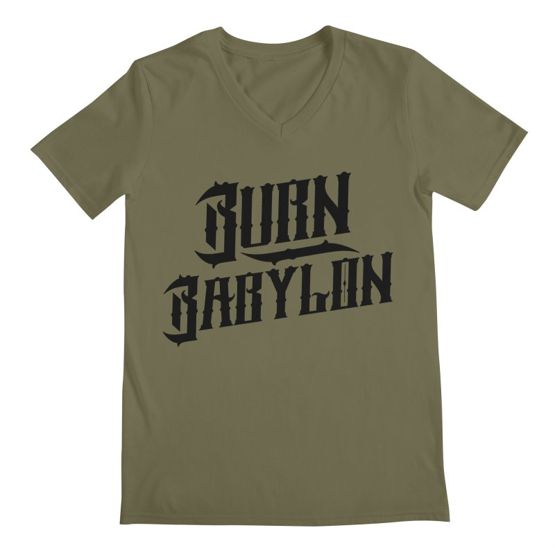 Burn Babylon (Dark) Men's Regular V-Neck by Rasta University Shop
