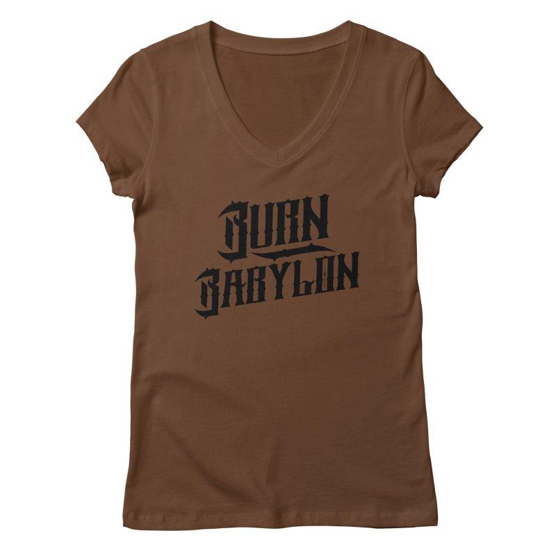 Burn Babylon (Dark) Women's V-Neck by Rasta University Shop