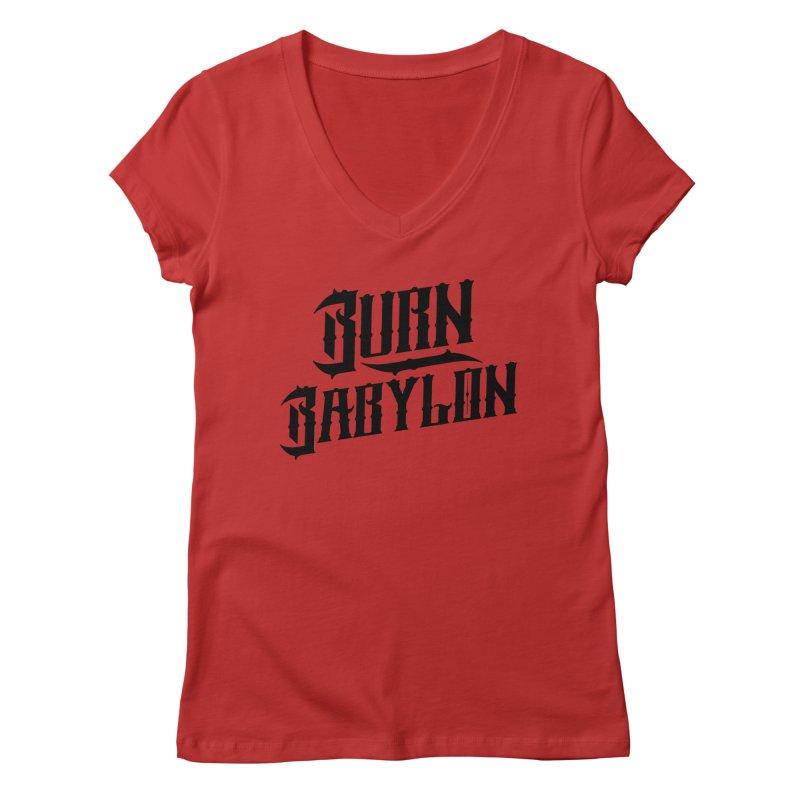 Burn Babylon (Dark) Women's Regular V-Neck by Rasta University Shop