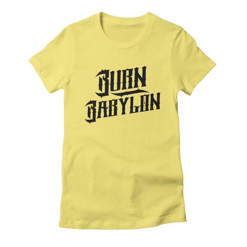 Burn Babylon (Dark) Women's Fitted T-Shirt by Rasta University Shop