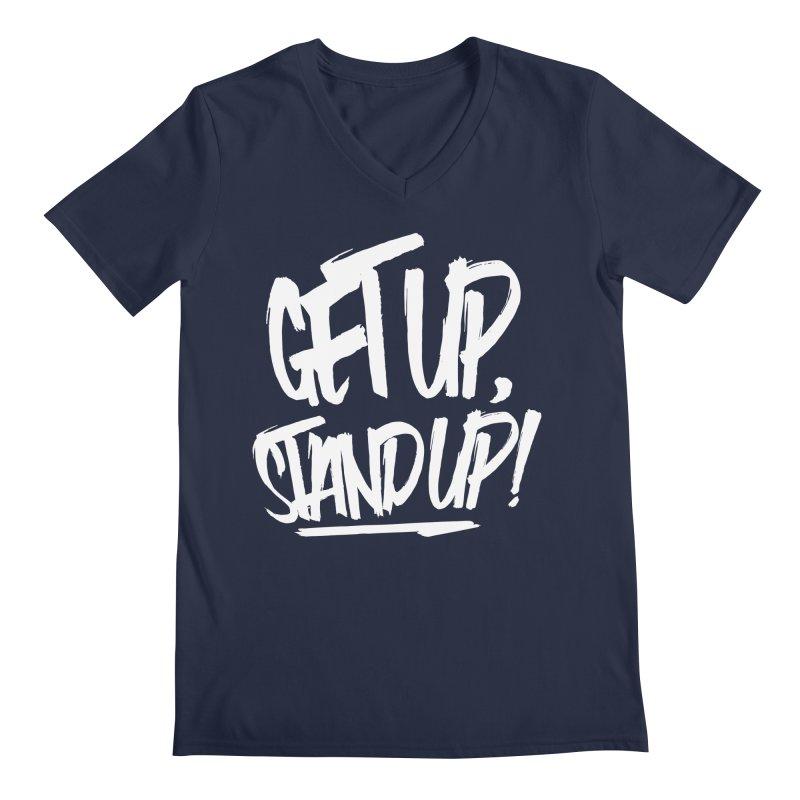 Get Up, Stand Up (Light) Men's Regular V-Neck by Rasta University Shop