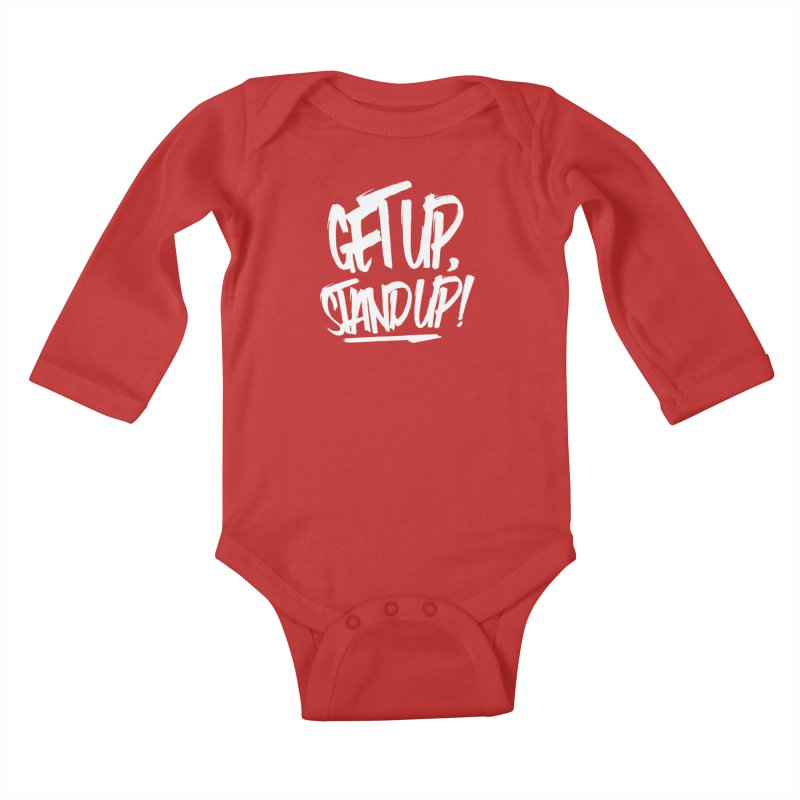 Get Up, Stand Up (Light) Kids Baby Longsleeve Bodysuit by Rasta University Shop