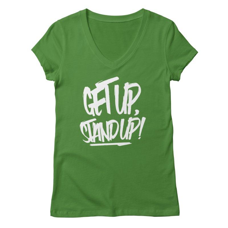 Get Up, Stand Up (Light) Women's V-Neck by Rasta University Shop