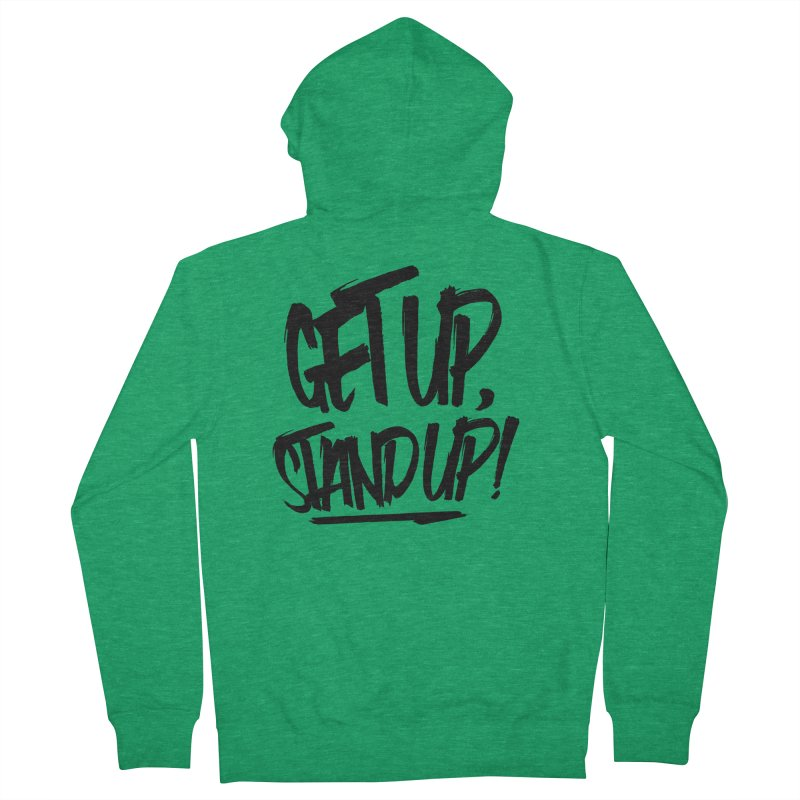 Get Up, Stand Up (Dark) Women's French Terry Zip-Up Hoody by Rasta University Shop