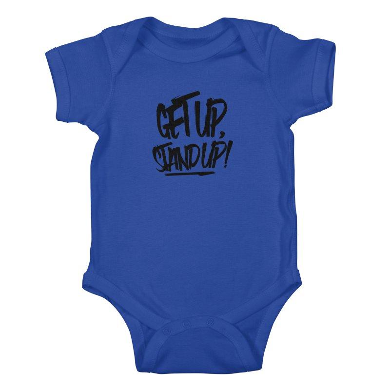 Get Up, Stand Up (Dark) Kids Baby Bodysuit by Rasta University Shop