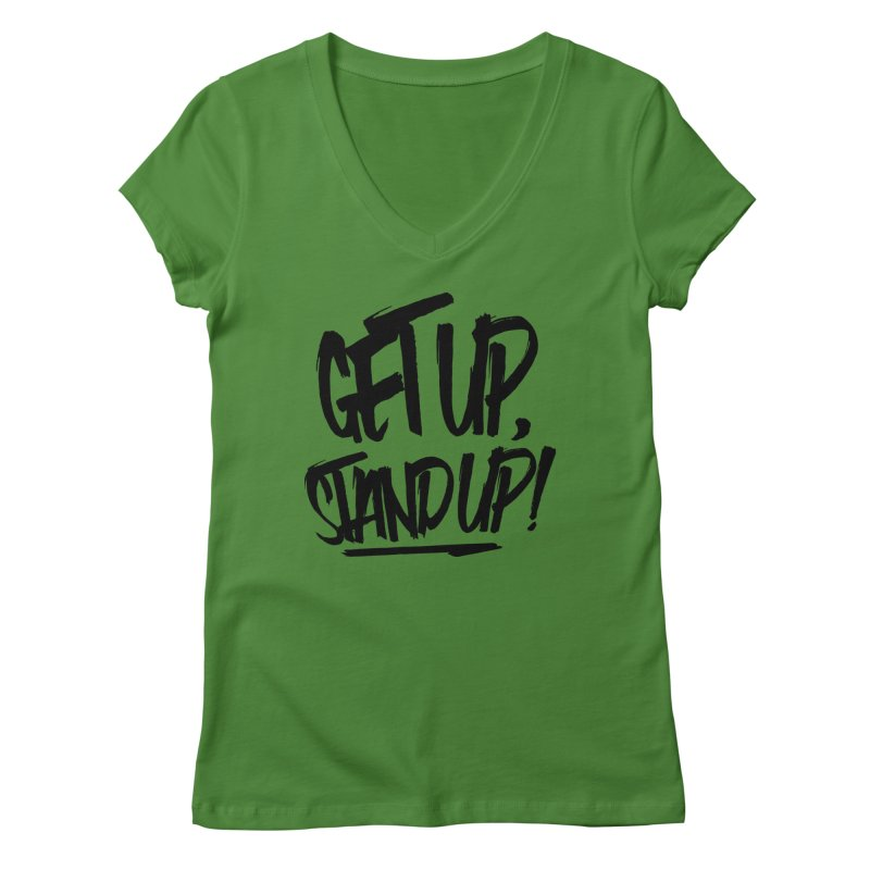 Get Up, Stand Up (Dark) Women's Regular V-Neck by Rasta University Shop