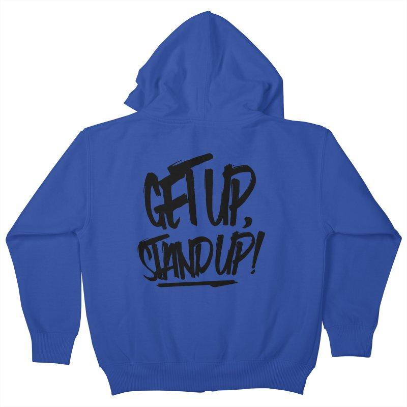 Get Up, Stand Up (Dark) Kids Zip-Up Hoody by Rasta University Shop