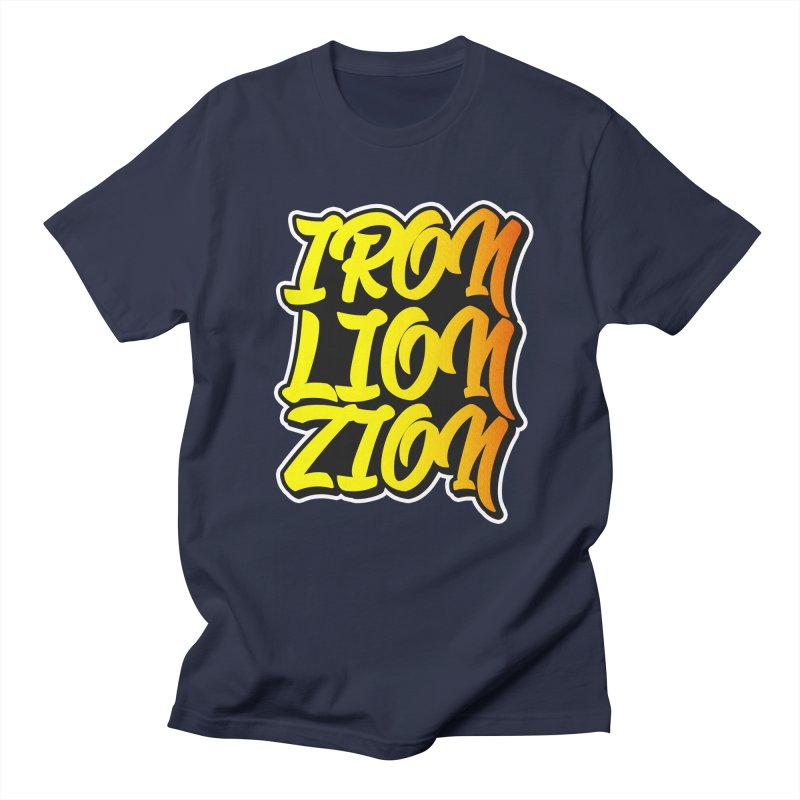Iron Lion Zion in Men's T-shirt Navy by Rasta University Shop