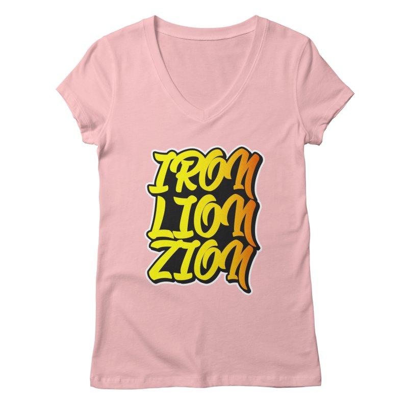 Iron Lion Zion Women's Regular V-Neck by Rasta University Shop