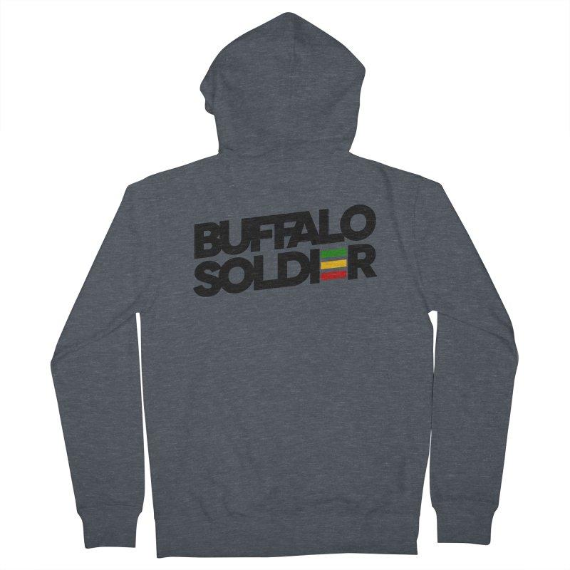 Buffalo Soldier (Dark) Men's French Terry Zip-Up Hoody by Rasta University Shop